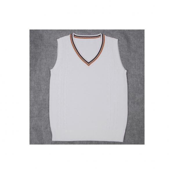 Japanese School Uniform Knitted Vest Women V-Neck Sleeveless Sweater JK Students Pullover off white+coffee