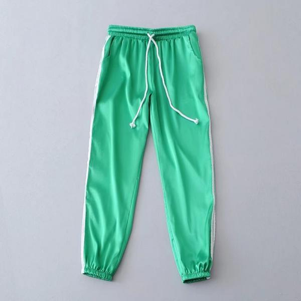 Green Casual Trousers, Joggers, Sweatpants with Side White Stripe