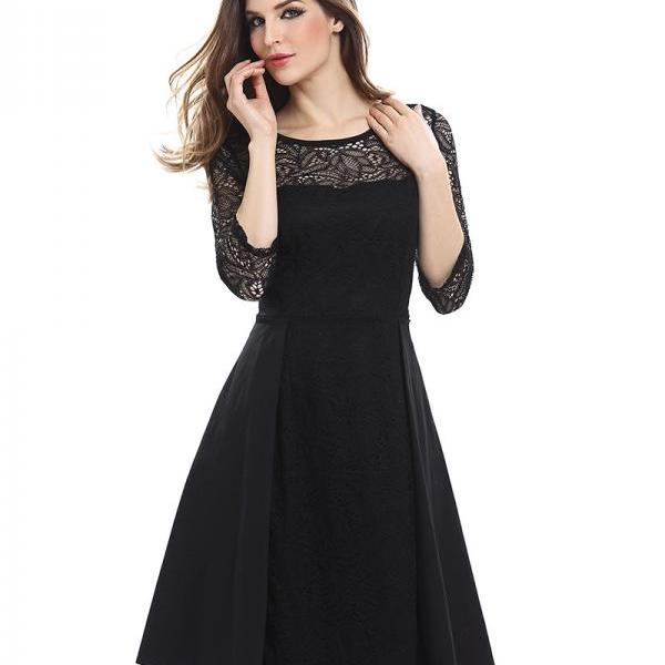 Vintage Lace Patchwork Dress Women 3/4 Sleeve Business Work Office Cocktail Party Dress black