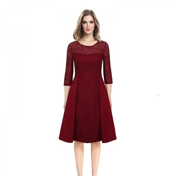 Vintage Lace Patchwork Dress Women 3/4 Sleeve Business Work Office Cocktail Party Dress burgundy