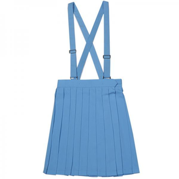 Japanese School Uniform Braces Skirt Girls Solid Pleated JK Suspender Jumper Skirt Cosplay Costume blue