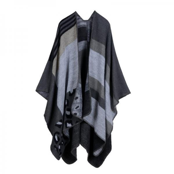 Women Lady Faux Cashmere Scarf Plaid Poncho Cape Floral Wrap Shawl Blanket Cloak 7#