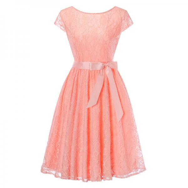 Elegant Floral Lace Pleated Dress Women Cap Sleeve Vintage Belted Swing Casual Party Dress salmon