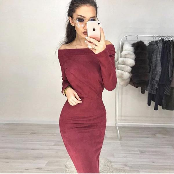 Women Suede Dress Sexy Bodycon Party Long Sleeve Off The Shoulder Club Pencil Dress red