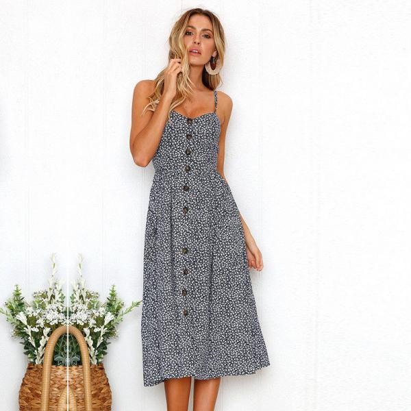 Spaghetti Strap Floral Print Button-Down Front Summer Midi Dress with Pockets