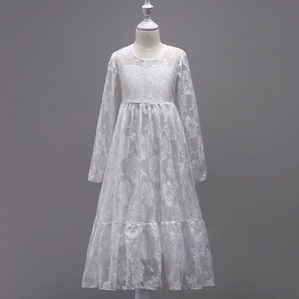 Lace Flower Girl Dress Princess Long Sleeve Wedding First Communion Party Gown Kids Children Clothes off white