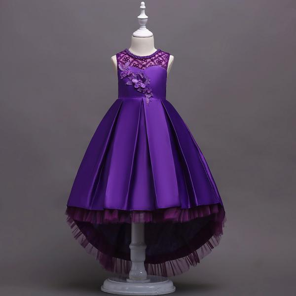 Princess Flower Girl Dress Lace High Low Wedding Birthday Party Tutu Gown Kids Clothes purple