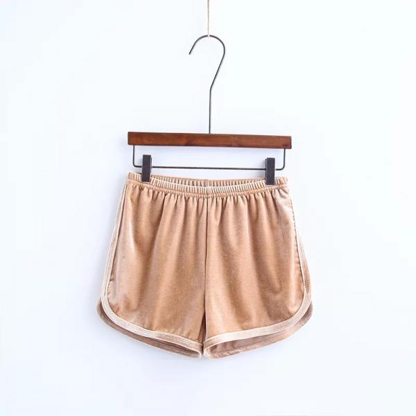 Workout Shorts Women Summer Loose Casual Elastic High Waist Velvet Shorts khaki