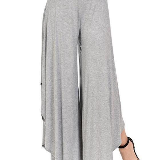 Elegant Irregular Ruffles Wide Leg Pants Women High Waist Pleated Casual Loose Streetwear Trousers gray