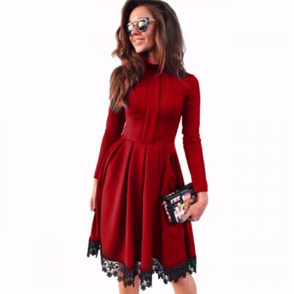 Long Sleeve Casual Dress Women O-Neck Lace Patchwork Office Party Dress red