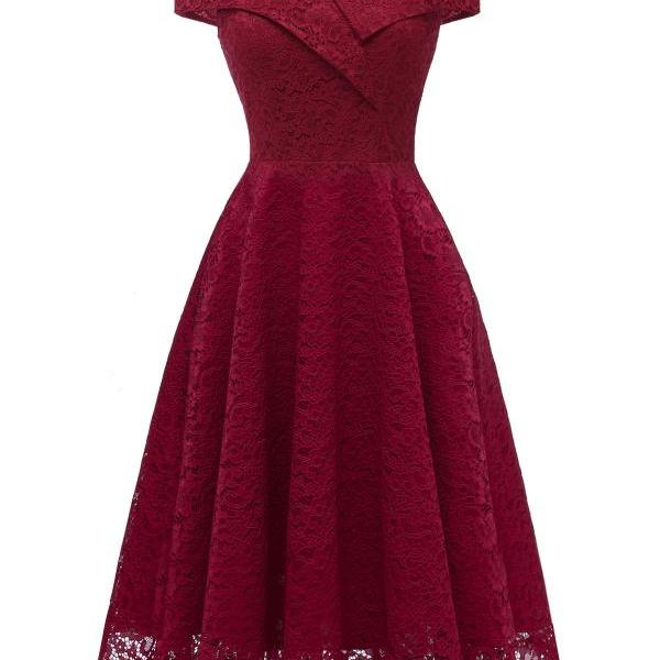 Off the Shoulder Floral Lace Dress V Neck Sexy Women Vintage Cocktail Formal Party Dress burgundy