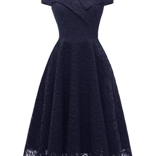 Off the Shoulder Floral Lace Dress V Neck Sexy Women Vintage Cocktail Formal Party Dress navy blue
