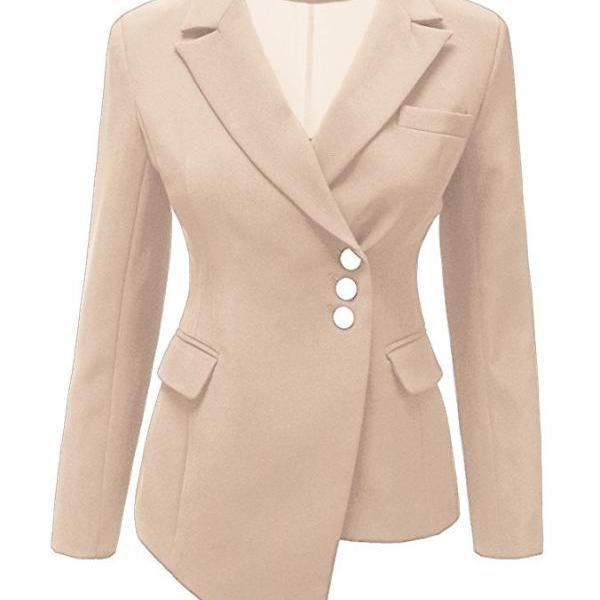 Fashion Slim Asymmetrical Women Suit Coat Buttons Long Sleeve Solid Lady Short Casual Jacket khaki
