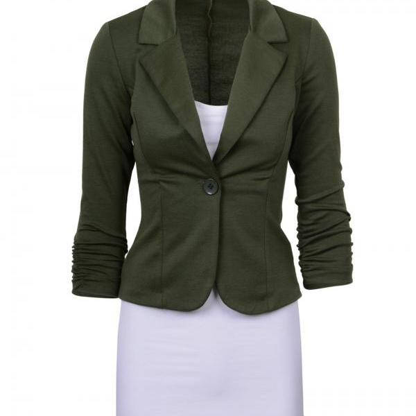 Fashion Spring Women Slim Blazer Coat Long Sleeve One Button Casual Suit Jacket Ladies Work Wear army green