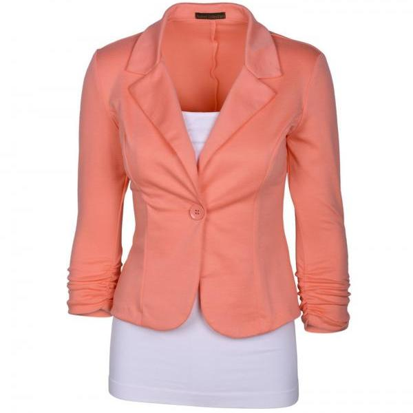 Fashion Spring Women Slim Blazer Coat Long Sleeve One Button Casual Suit Jacket Ladies Work Wear salmon