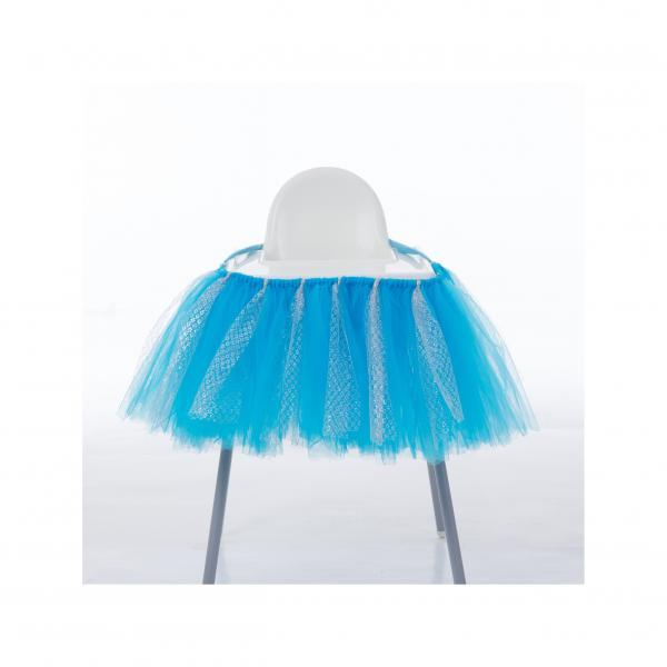 Tutu Tulle Table Skirts High Chair Decor Baby Shower Decorations for Boys Girls Party Set Birthday Party Supplies blue+silver