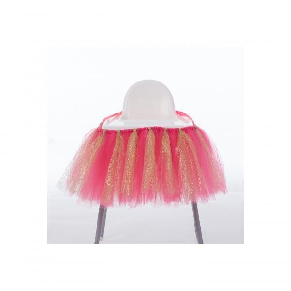 Tutu Tulle Table Skirts High Chair Decor Baby Shower Decorations for Boys Girls Party Set Birthday Party Supplies coral+gold