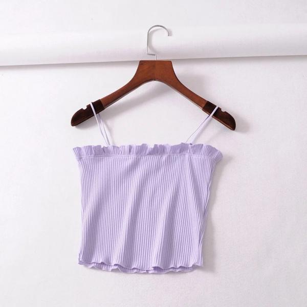 Sexy Fitness Slim Spaghetti Strap Camis Vest Sleeveless Women Tight Tops Short Tee lilac