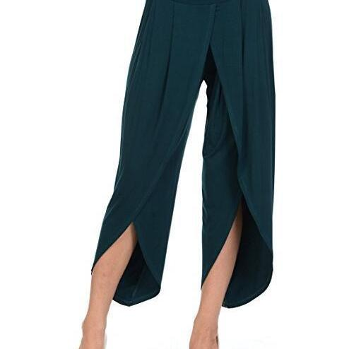 New Irregular Wide Leg Pants Women Fashion Cross Split Ladies Solid Casual Comfortable Loose Trousers hunter green