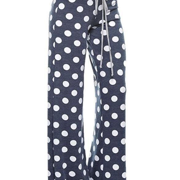 Women Long Wide-Leg Pants Drawstring Mid Waist Polka Dot/Camouflage Casual Straight Palazzo Trousers  blue polka dot