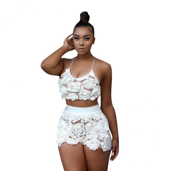 Sexy Two Piece Sets Women Floral Mesh Lace Halter Crop Top+Shorts Summer Outfits Clothing Set off white