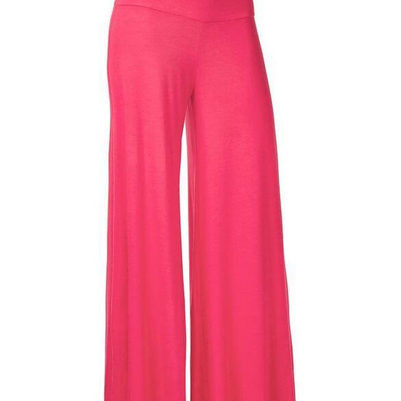 Women Slim Flare Pants High Waist Long Trousers Casual Office Work Wide Leg Trousers hot pink