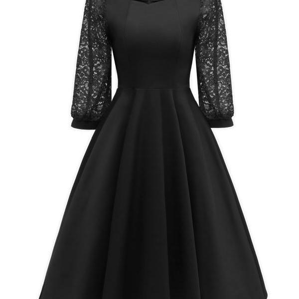 Vintage 50 60s Lace Dress Women Square Collar 3/4 Sleeve Rockabilly Evening Party Dress black