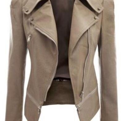 New Fashion Women Faux Leather Jackets Long Sleeve Lady Slim Short Bomber Coat Motorcycle Outerwear apricot