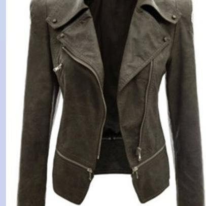 New Fashion Women Faux Leather Jackets Long Sleeve Lady Slim Short Bomber Coat Motorcycle Outerwear army green