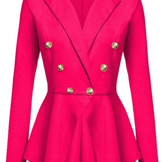 Women Slim Suit Coat Spring Autumn Metal Button Long Sleeve Double-Breasted Lady Blazer Work Wear hot pink
