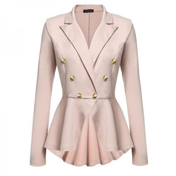 Women Slim Suit Coat Spring Autumn Metal Button Long Sleeve Double-Breasted Lady Blazer Work Wear khaki