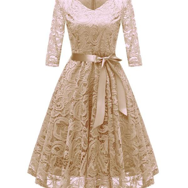 Vintage V Neck Belted Floral Lace Dress 3/4 Sleeve Swing A Line Formal Party Dress champagne