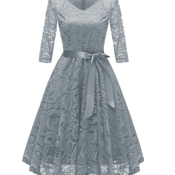 Vintage V Neck Belted Floral Lace Dress 3/4 Sleeve Swing A Line Formal Party Dress gray