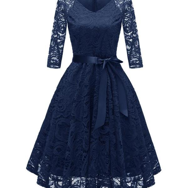 Vintage V Neck Belted Floral Lace Dress 3/4 Sleeve Swing A Line Formal Party Dress navy blue