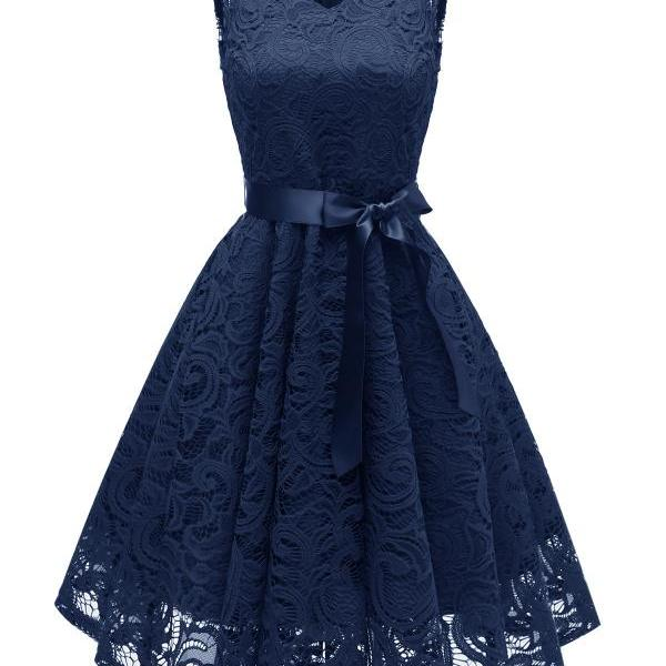Vintage V Neck Belted Floral Lace Dress Sleeveless Tunic A Line Formal Prom Party Dress navy blue