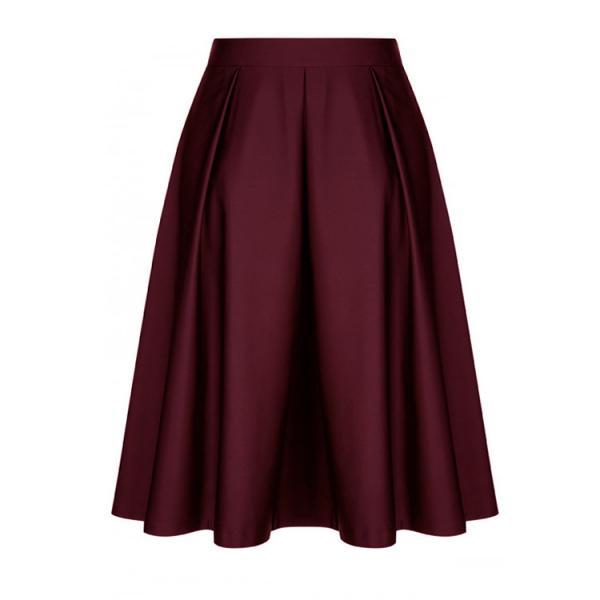 Fashion Women Midi Skater Skirt High Waist Zipper Pleated Swing A Line Skirt burgundy