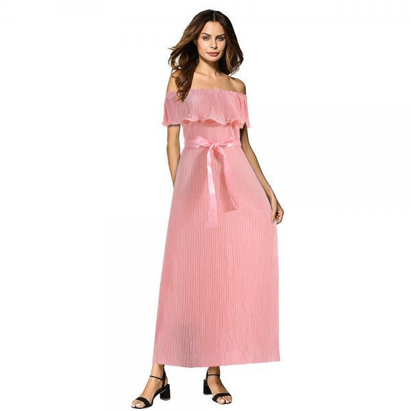 Off the Shoulder Pleated Maxi Dress Boho Summer Belted Women Long Prom Party Dress pink