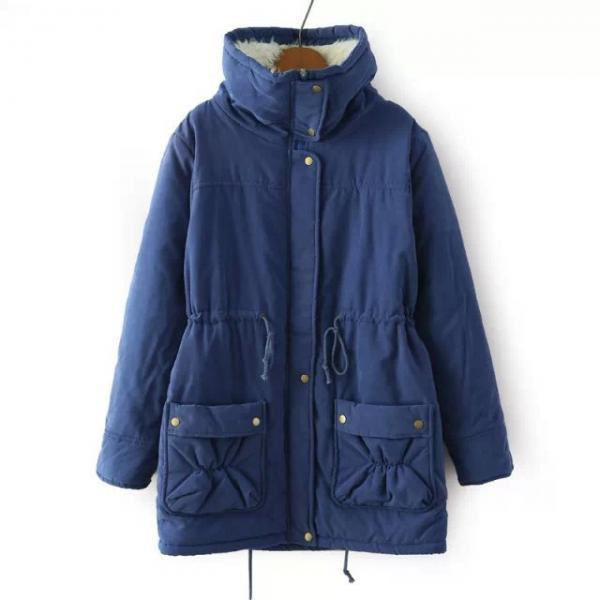 Winter Women Thick Long Fleece Coat Warm Turn Down Collar Fashion Parka Jackets Female Outerwear navy blue