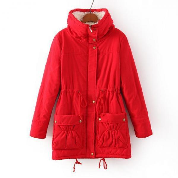Winter Women Thick Long Fleece Coat Warm Turn Down Collar Fashion Parka Jackets Female Outerwear red