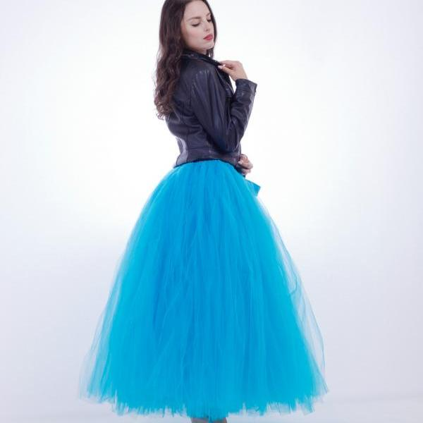 Puffty Women Tulle Tutu Skirt High Waist Lace up Jupe Female Prom Party Bridesmaid Skirts blue