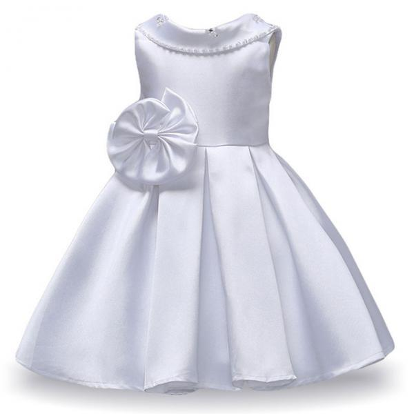 Infant Princess Flower Girls Dress Kids Wedding Bridesmaid Party Tutu Gown Children Clothes white