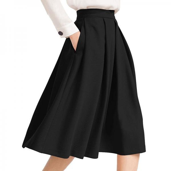 Women Midi Pleated Skirt High Waist Knee Length Pockets Girls A Line Skater Skirt black