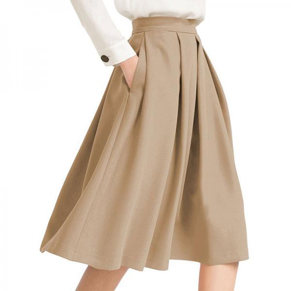 Women Midi Pleated Skirt High Waist Knee Length Pockets Girls A Line Skater Skirt khaki