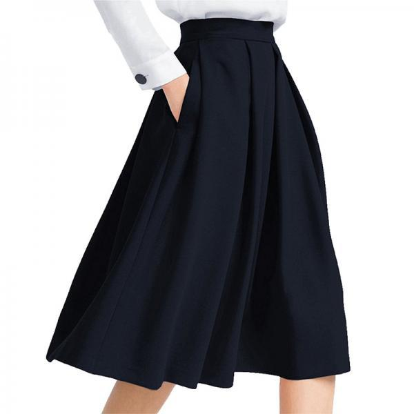 Women Midi Pleated Skirt High Waist Knee Length Pockets Girls A Line Skater Skirt navy blue
