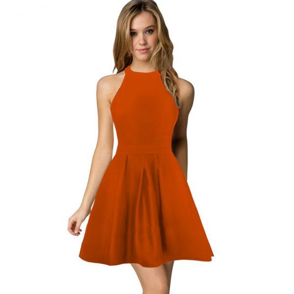Sexy Short Nightclub Wear Halter Blackless Zipper A-Line Mini Cocktail Party Dress orange