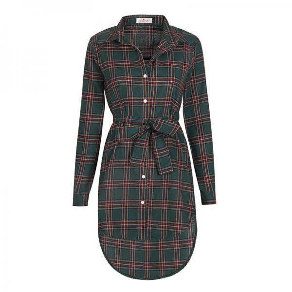 Green Collared Plaid Belted Shirt Dress with Asymmetrical Hem