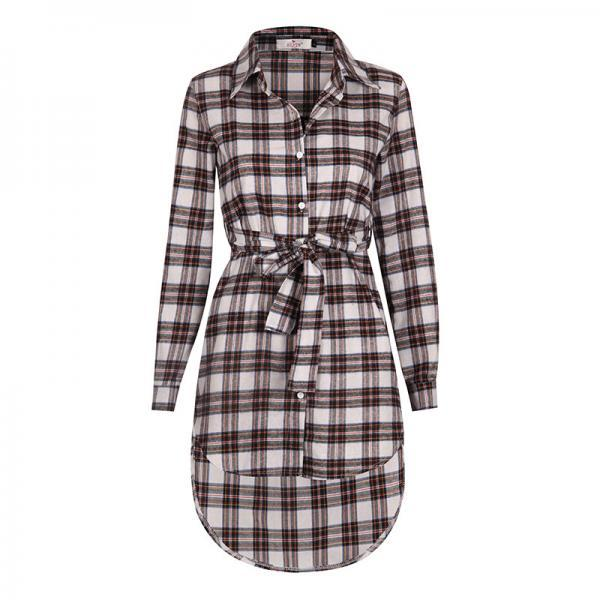 Women Plaid Shirt Dress Casual Long Sleeve Belted Asymmetrical Office Work Party Dress off white