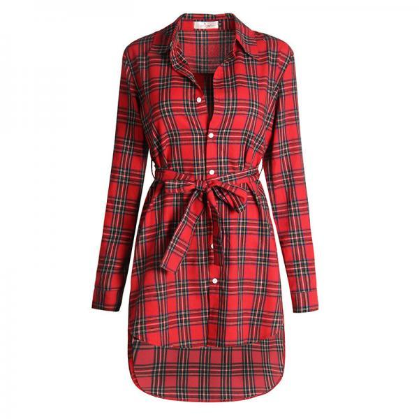 Women Plaid Shirt Dress Casual Long Sleeve Belted Asymmetrical Office Work Party Dress red