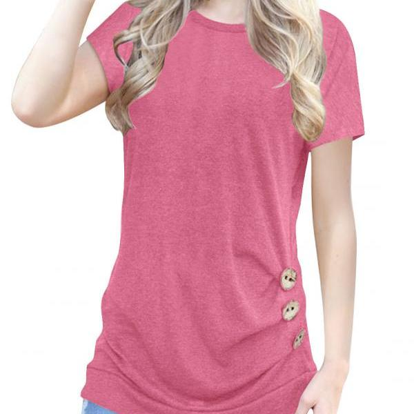Pink O-Neck Casual Slim Short Sleeve T-Shirt with Buttons