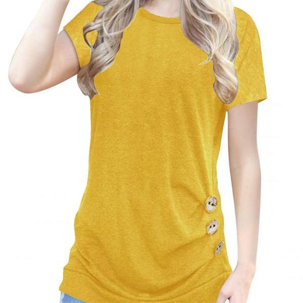 Yellow O-Neck Casual Slim Short Sleeve T-Shirt with Buttons